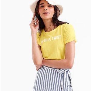 J. CREW With A Twist Cotton T-Shirt Sz XS Yellow